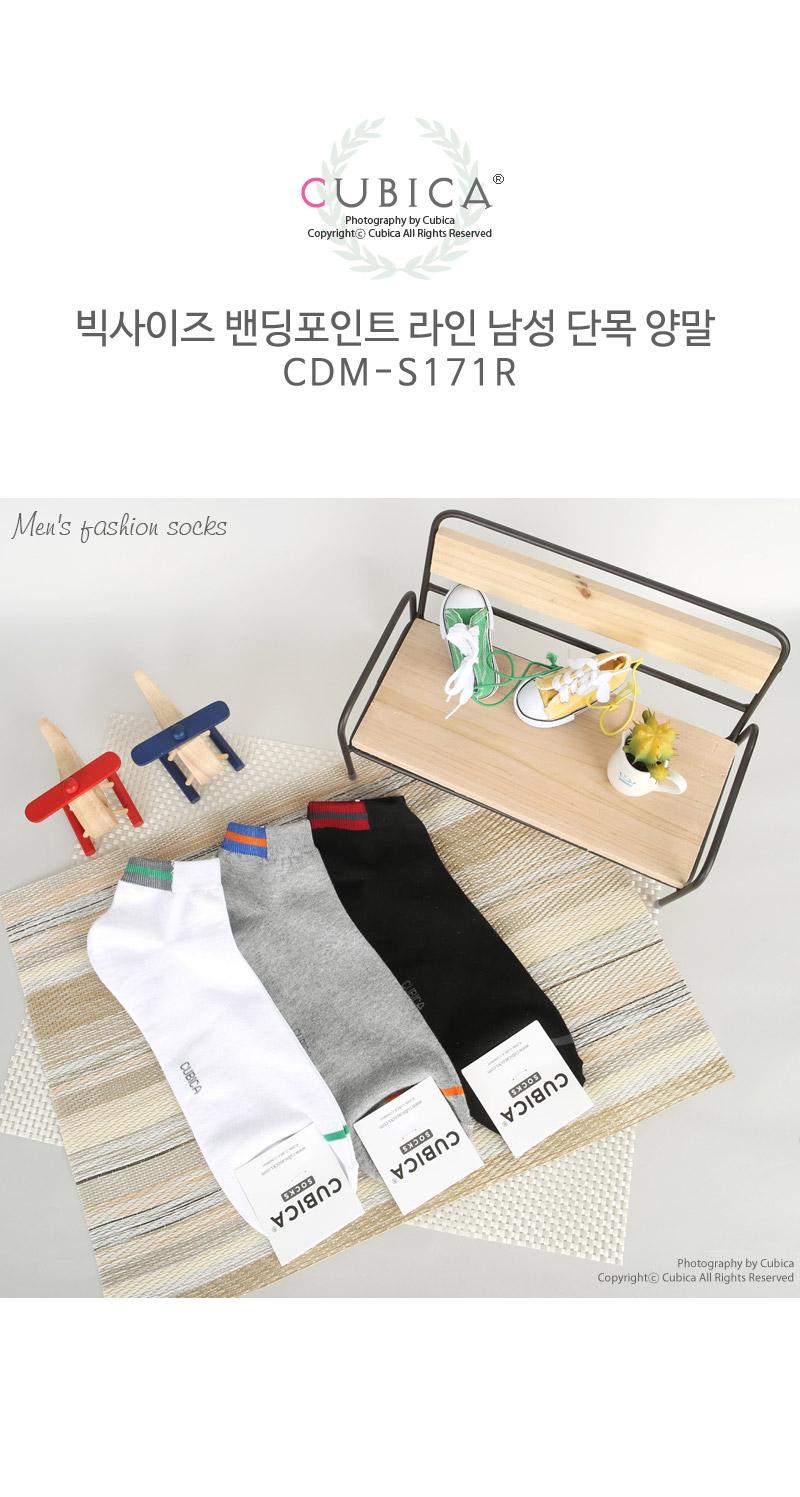 빅사이즈 밴딩컬러 라인 남성 단목양말 S171R - 쿠비카, 1,610원, 남성양말, 패션양말