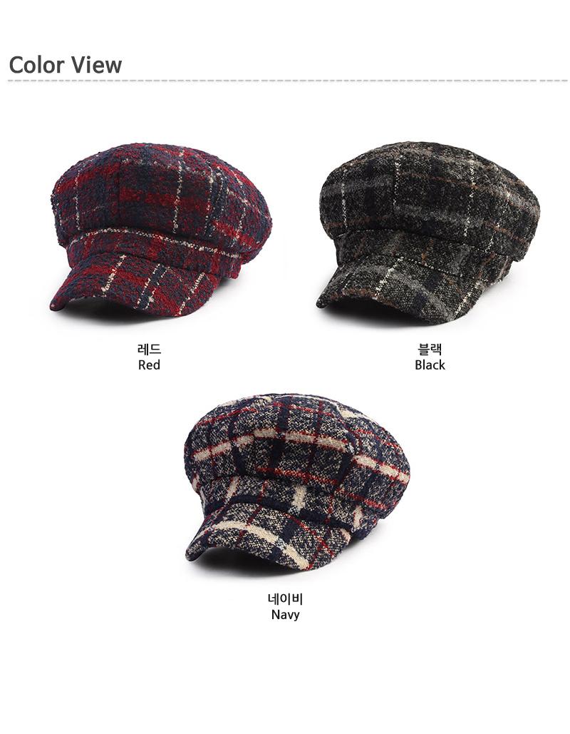 울 체크 보카시 팔각모 DCH-HN506 - 디꾸보, 16,830원, 모자, 군모